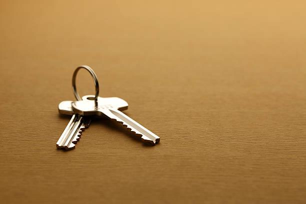 Close-up shots House keys on a table